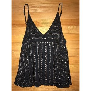 Free People Black Tank Top w/ gold beads & sequins
